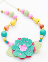 childrens necklace children s necklace made with wood wool felt flowers