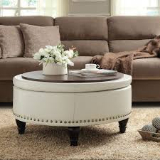 round tufted coffee table beautiful round leather ottoman leather ottoman with tray leather