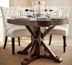 benchwright extending pedestal dining table alfresco brown