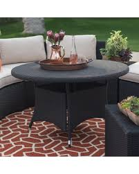 all weather dining table deal alert belham living meridian all weather wicker round outdoor