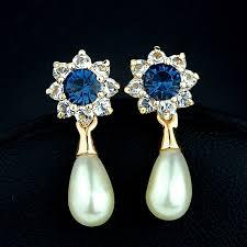 blue drop earrings brand korean women jewelry simple style blue drop earrings