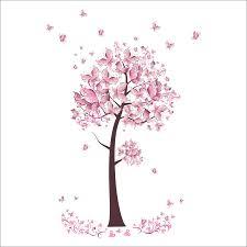 pink butterfly flower tree wall stickers decals girls women flower