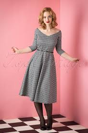 houndstooth dress topvintage exclusive 50s roxan swing dress in houndstooth