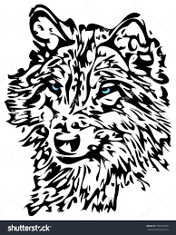 tribal stag tattoo tribal wolf with blue eyes animal tattoo design stock photo