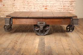 Vintage Coffee Table With Wheels Vintage Industrial Rustic Wood And Cast Iron Factory Coffee Table