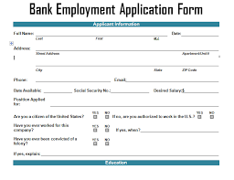 bank employment application form template u2013 project management