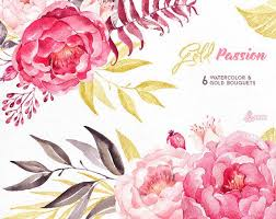 painting greeting cards in watercolor gold 6 bouquets watercolor painted clipart peonies