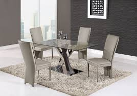 Dining Room Sets Glass Top D4100 Dining 5pc Set Glass Top By Global W D6605dc Taupe Chairs