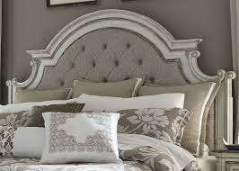 White King Panel Bedroom Suite Magnolia Manor Antique White Upholstered Panel Bedroom Set From