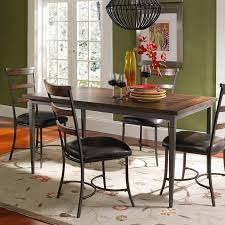 hillsdale cameron 5 piece rectangle wood and metal dining table