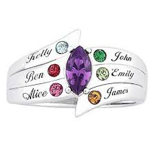 mothers ring 7 stones mothers austrian simulated birthstone family name ring in