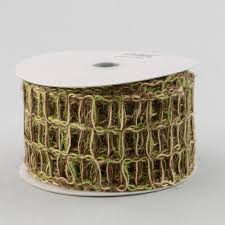 moss ribbon 2 5 jute window pane mesh ribbon moss brown 10 yards