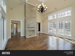 Two Story Fireplace Floor To Ceiling Tiled Fireplace Contemporary Living Room With