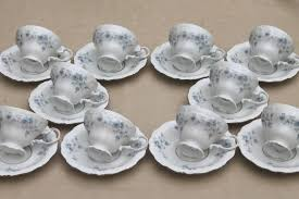 of 10 blue garland china tea cups and saucers vintage bavaria