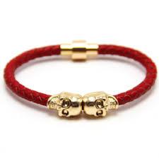 bracelet gold skull images Red nappa leather gold twin skull bracelet debonair time JPG