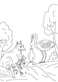 fox stork coloring sketch coloring