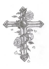 cross with flowers tattoo design photos pictures and sketches