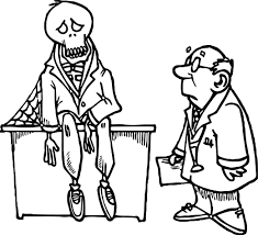 very ill skeleton and doctor free coloring page wecoloringpage