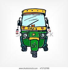motor rickshaw taxi indian car hand stock vector 471712709