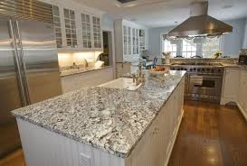 Brushed Nickel Faucet Kitchen by White Ice Granite Kitchen Countertops With Ceramic Farmhouse Sink