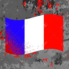 Frwnch Flag Flag Of France And Blood Splatter Bloody French Flag On Grey
