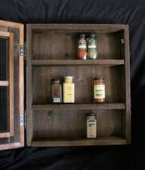 Wooden Spice Cabinet With Doors Rustic Handcrafted Kitchen Spice Cabinet By Tdrusticreflections