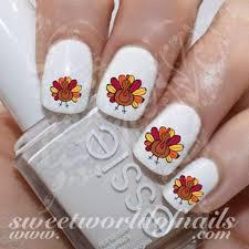 thanksgiving fingernails nail turkey nail water slides