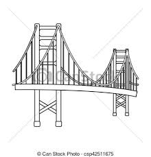 vectors illustration of golden gate bridge icon in outline style