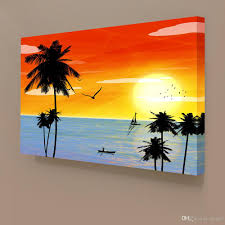 Painting Home Decor by 2017 Sunset Landscape Hawaii Seascape Canvas Painting Home Decor