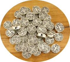 rosary supplies tiny st benedict medal metal antique silver about 100pcs