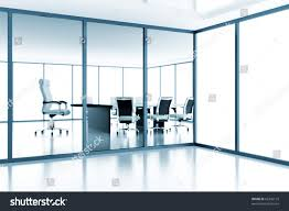 empty meeting room behind glass partition stock illustration