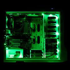 nzxt 2 meter sleeved computer led light kit green model