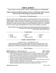 Show Examples Of Resumes by Reporter Resume Example