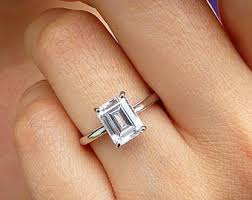 solitaire emerald cut engagement rings handmade emerald cut engagement ring etsy