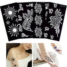 henna stencil moon flower design airbrush painting