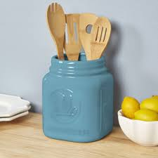 kitchen mason jar utensil holder in blue for kitchen storage ideas