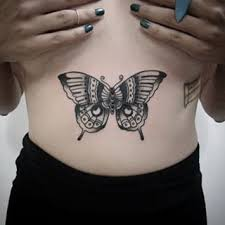 a butterfly on your stomach grey and tatting