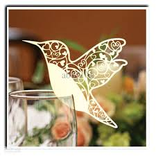 laser cutting wedding decoration pretty bird shape wine glass