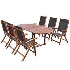 11 Piece Patio Dining Set - vidaxl seven piece folding outdoor dining set acacia wood vidaxl com