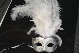 silver mardi gras mask venetian style mask with white and silver feather