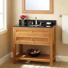 Narrow Bathroom Vanity by Half Round Brown Wooden Vanity With Storage And Shelves Combined