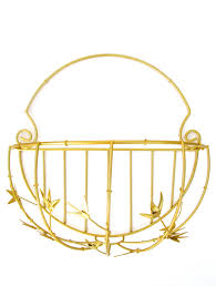 Garden Baskets Wall by Gold Faux Bamboo Demilune Wall Planter Sconce Large