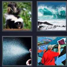 4 pics 1 word skunk big wave liquids painting