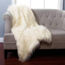 Restoration Hardware Faux Fur Amazon Com Best Home Fashion Ivory Mongolian Lamb Faux Fur Throw
