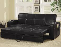 Fake Leather Sofa by Black Faux Leather Sofa Bed With Storage And Cup Holders