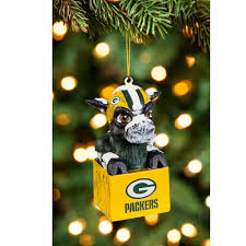 green bay packers team mascot tiki ornament at the packers pro shop