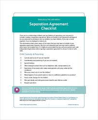 sample separation agreement form 7 examples in word pdf