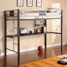 Bunk Bed Computer Desk Dorel Silver Screen Metal Loft Bed With Desk Black Silver
