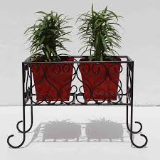 Square Metal Planter by Iron Stand With Square Metal Planter