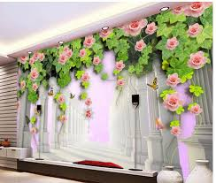 home decoration roman column 3d rose flowers rose green leaf